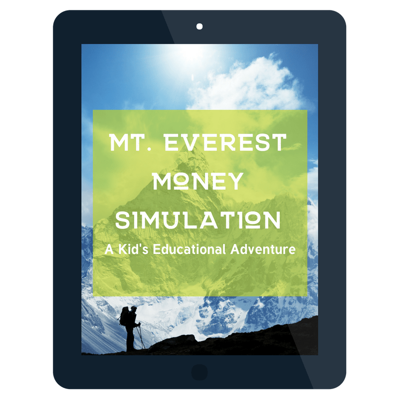 "ipad screenshot of mountain and shadow climber in lower lefthand with text overlay ""mt. Everest Money Simulation"""