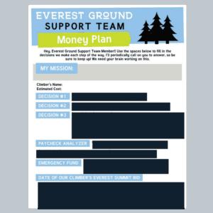screenshot of Everest Ground Support Team Money Plan Worksheet