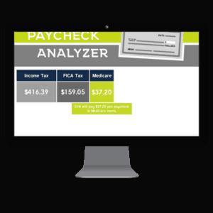 computer screenshot of paycheck analyzer presentation page
