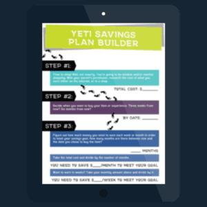 tablet showing Yeti Savings Plan Builder worksheet