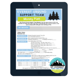 tablet screen showing everest ground support team money plan worksheet