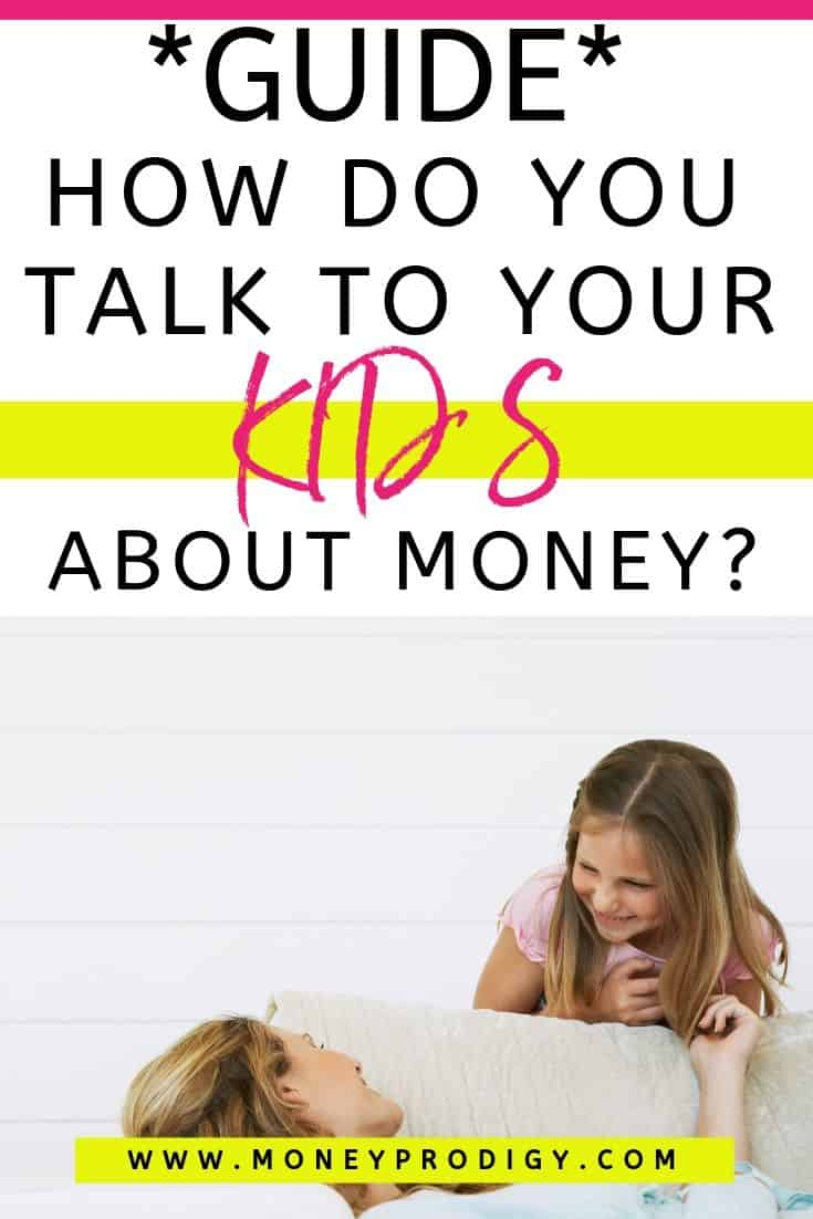 "mother on couch, smiling, talking to teen, text overlay ""guide: how do you talk to your kids about money?"""