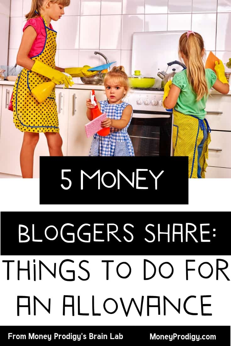 """three kids with chic aprons, doing chores with text overlay """"5 money bloggers share things to do for an allowance"""""""