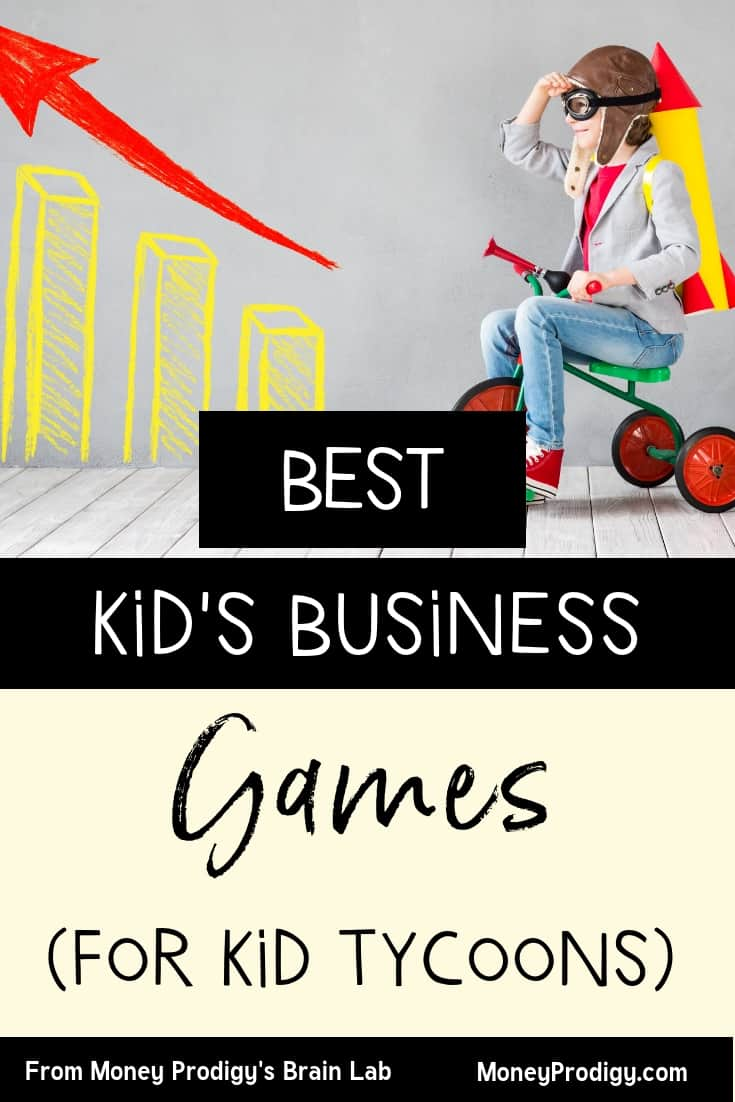 "boy kid on a bicycle with a business chart on his left, looking to the future with text overlay ""best kid's business games for kid tycoons"""