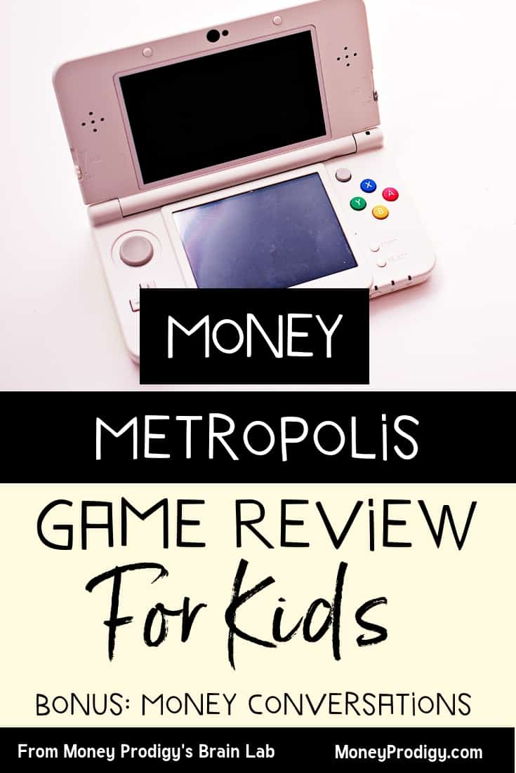 "pink, nintendo-looking game console with text overlay ""money metropolis game review for kids"""