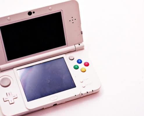 pink, nintendo-looking game console