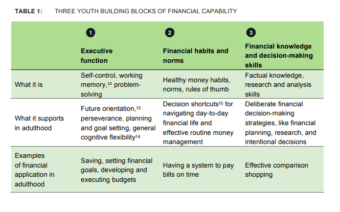 chart from consumer financial protection bureau detailing three building blocks for financial capabilities