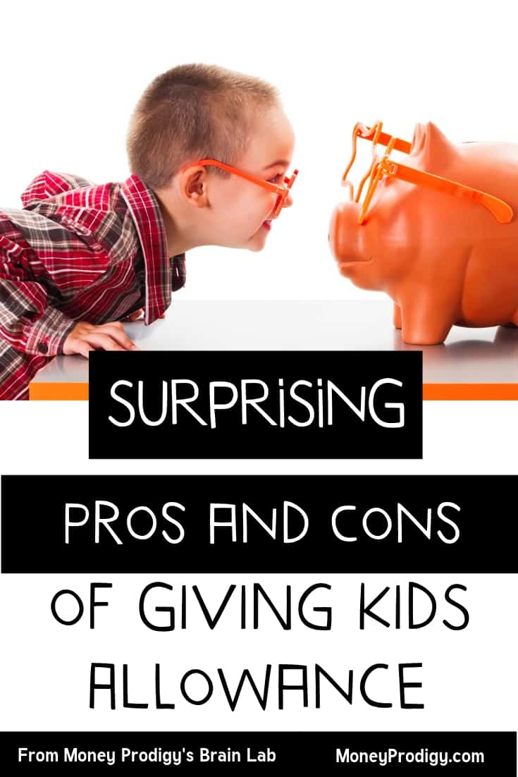 "boy with orange glasses staring at an orange piggy bank with text overlay ""surprising pros and cons of giving kids allowance"""