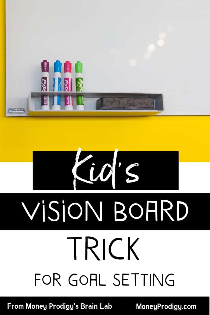"""white board on yellow painted wall background, used as a vision board for kids with text overlay """"kid's vision board trick for goal setting"""""""