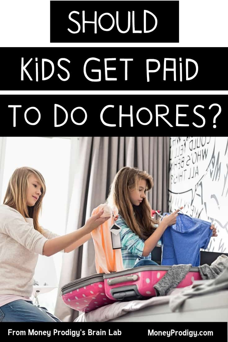 "two kids folding laundry to do chores off their chore list with text overlay ""should kids get paid to do chores?"""