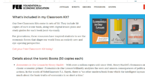 screenshot of Foundation for Economic Education's homepage