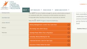 Screenshot of NEFE High SChool Financial Planning Program