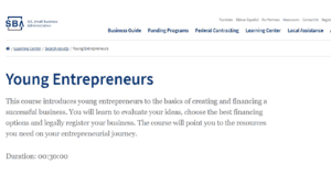 screenshot of Small Business Administration's Young Entrepreneur's page