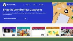 screenshot of PBS Learning Media's homepage