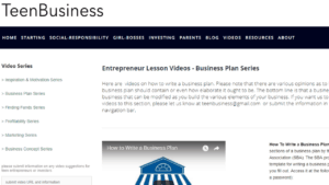 screenshot of Teen Business page