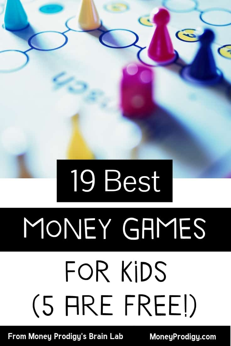"game board for kids with red, yellow, and blue game pieces with text overlay ""19 best money games for kids (5 are free!)"""