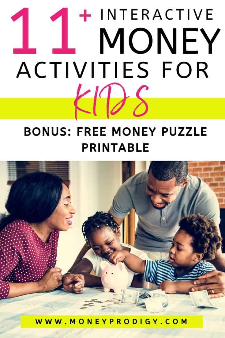 "young couple teaching kids money, text overlay ""11+ interactive money activities for kids"""