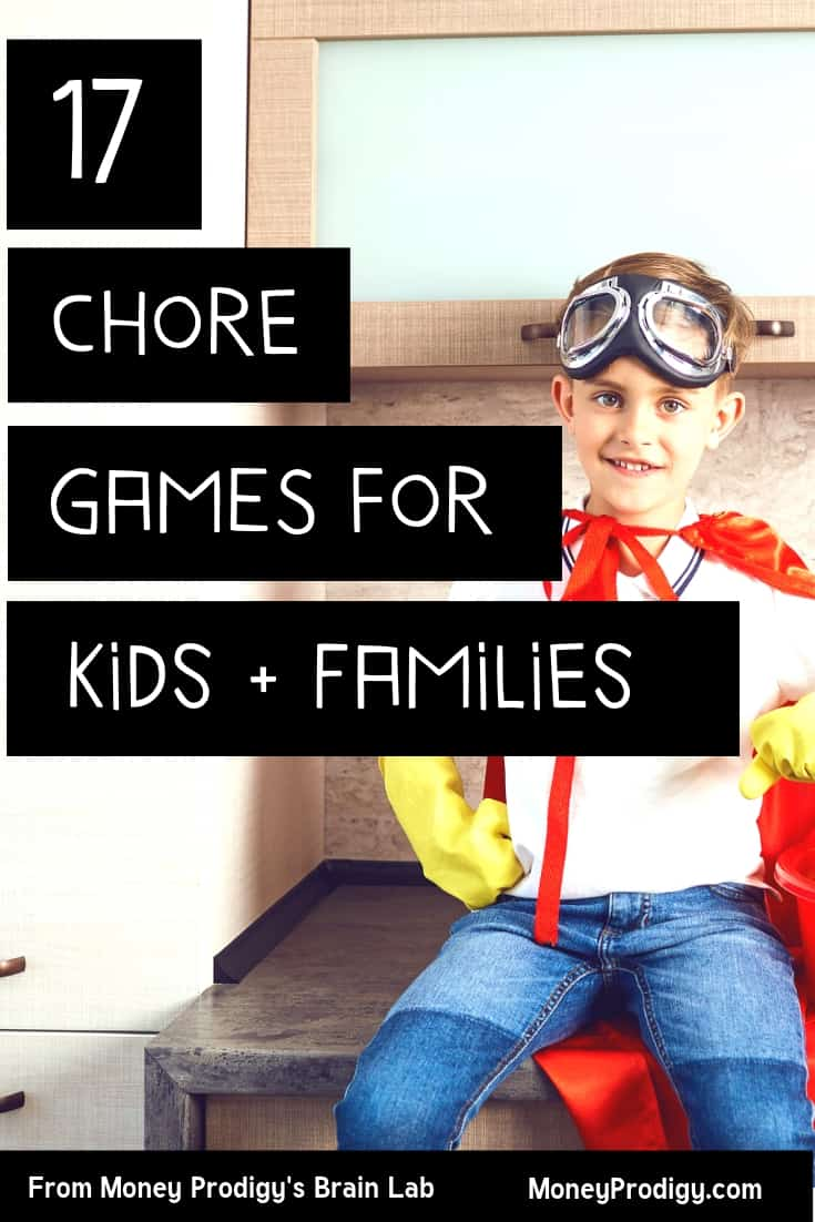 """tween boy on counter with red cape and gloves, text overlay """"17 chore games for kids and families"""" chores game"""