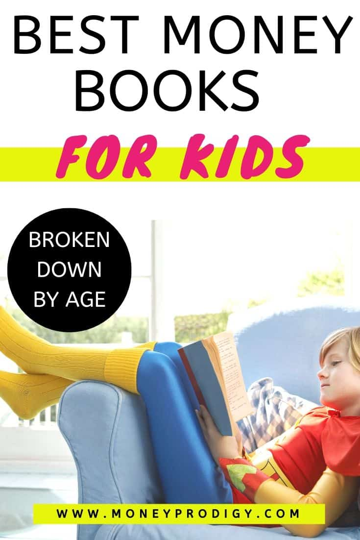 """young kid reading money book on couch in superman outfit, text overlay """"best money books for kids broken down by age"""""""