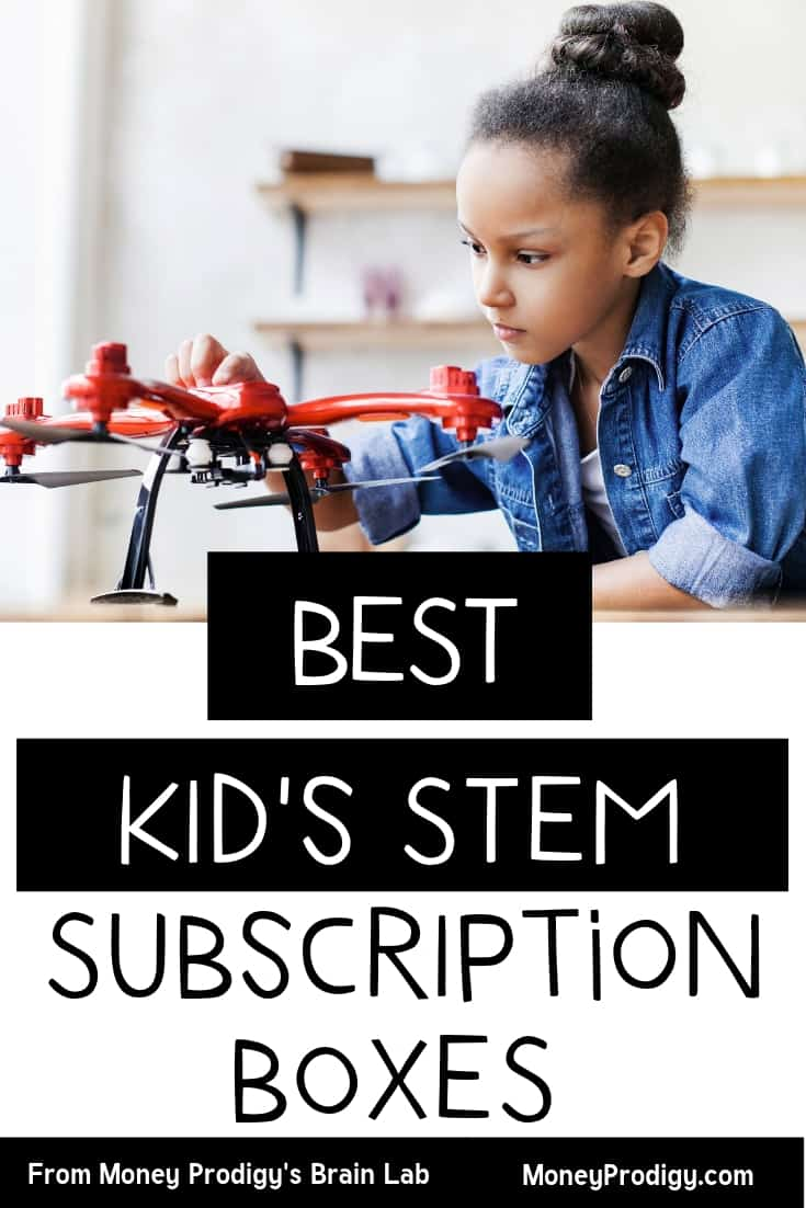 """Girl child playing with a droid toy with text overlay, """"best kid's stem subscription boxes"""""""