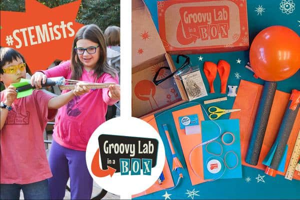 two kids called STEM ists playing with a creation from the groovy lab in a box - kid subscription box reviews