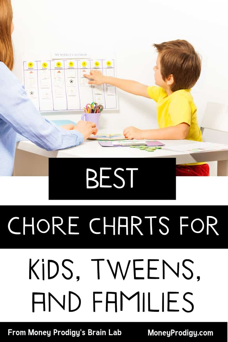"""mother with child pointing to chore chart for kid with text overlay """"best chore charts for kids, tweens, and families"""""""