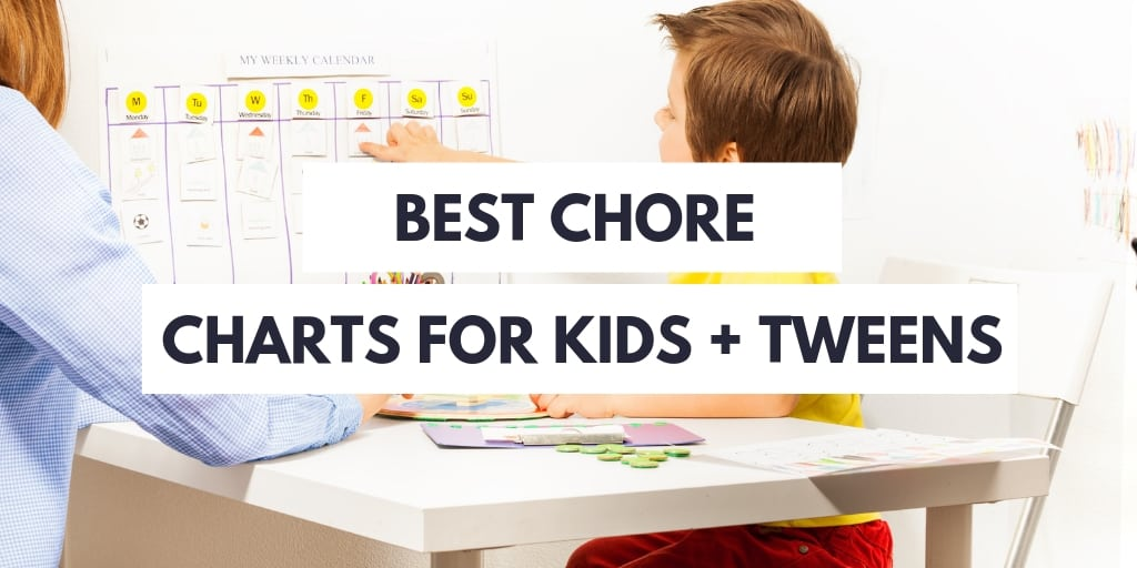 mother and child in yellow shirt, pointing to his chore chart, white background