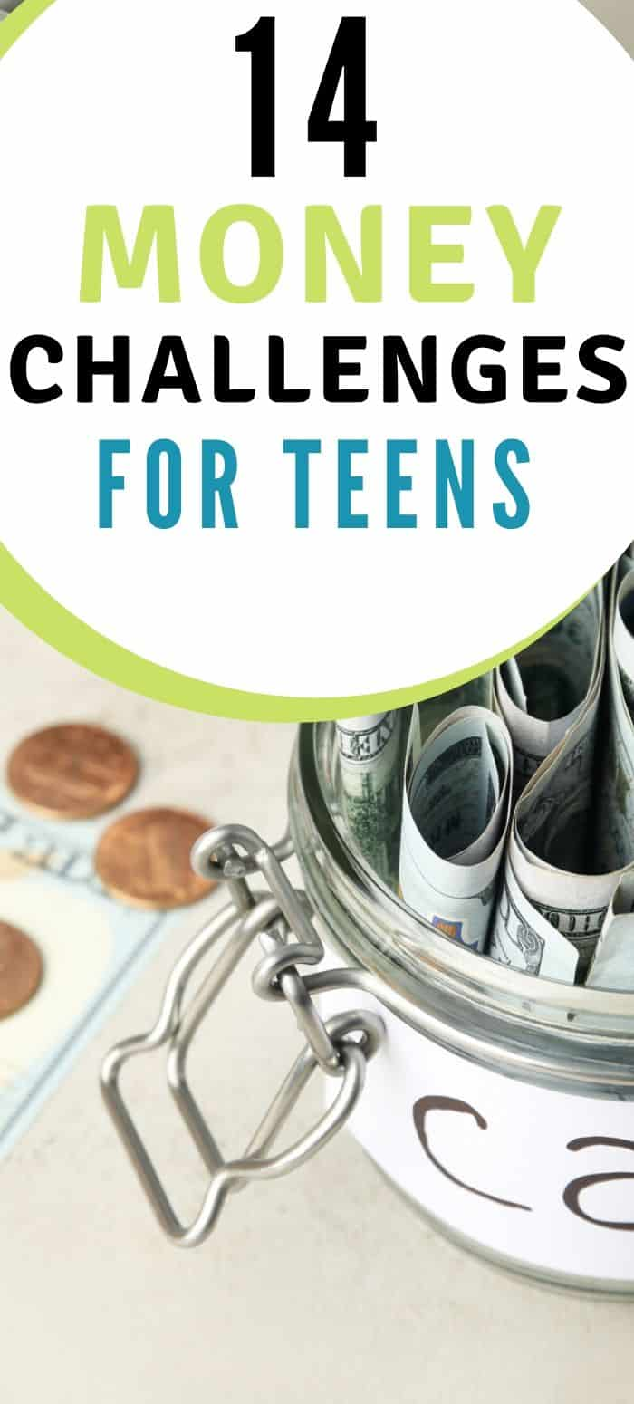 "car savings fund filled with money on table, text overlay ""14 money challenges for teens"""