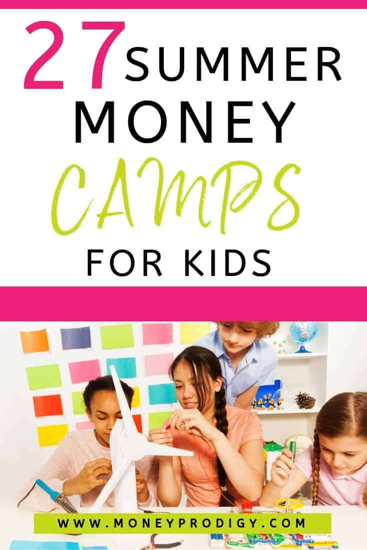 """group of kids and teens working on project, text overlay """"27 money summer camps for kids"""""""