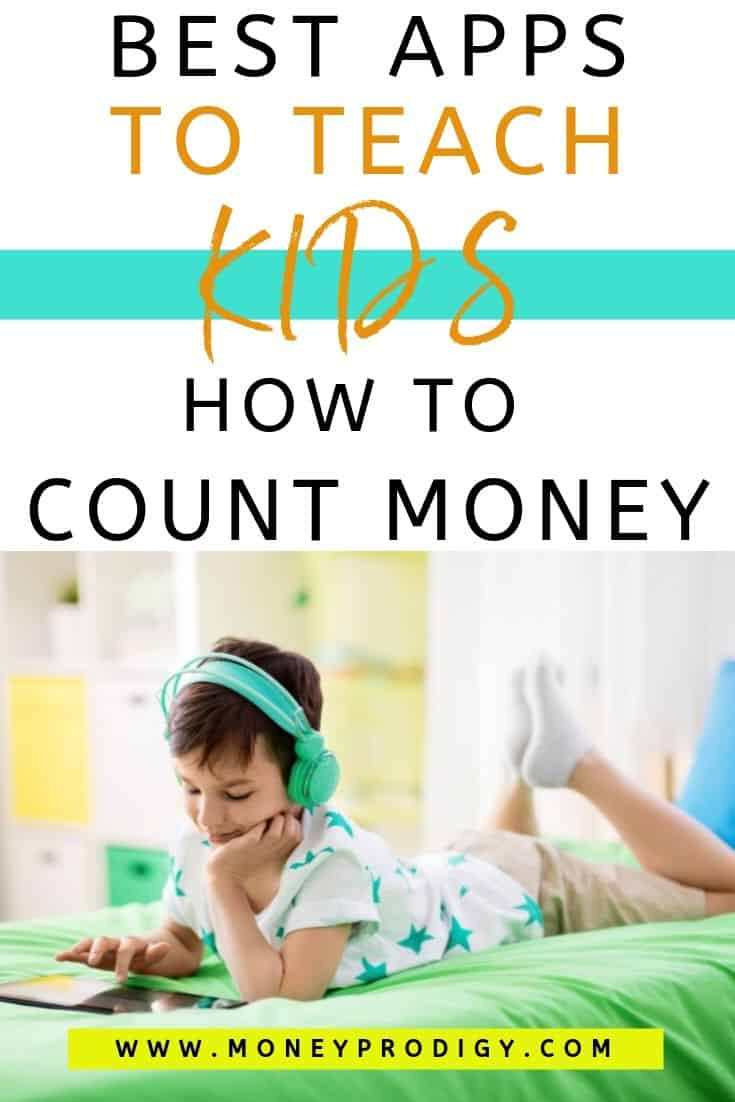 "young boy on iPad on bed, text overlay ""best apps to teach kids how to count money"""