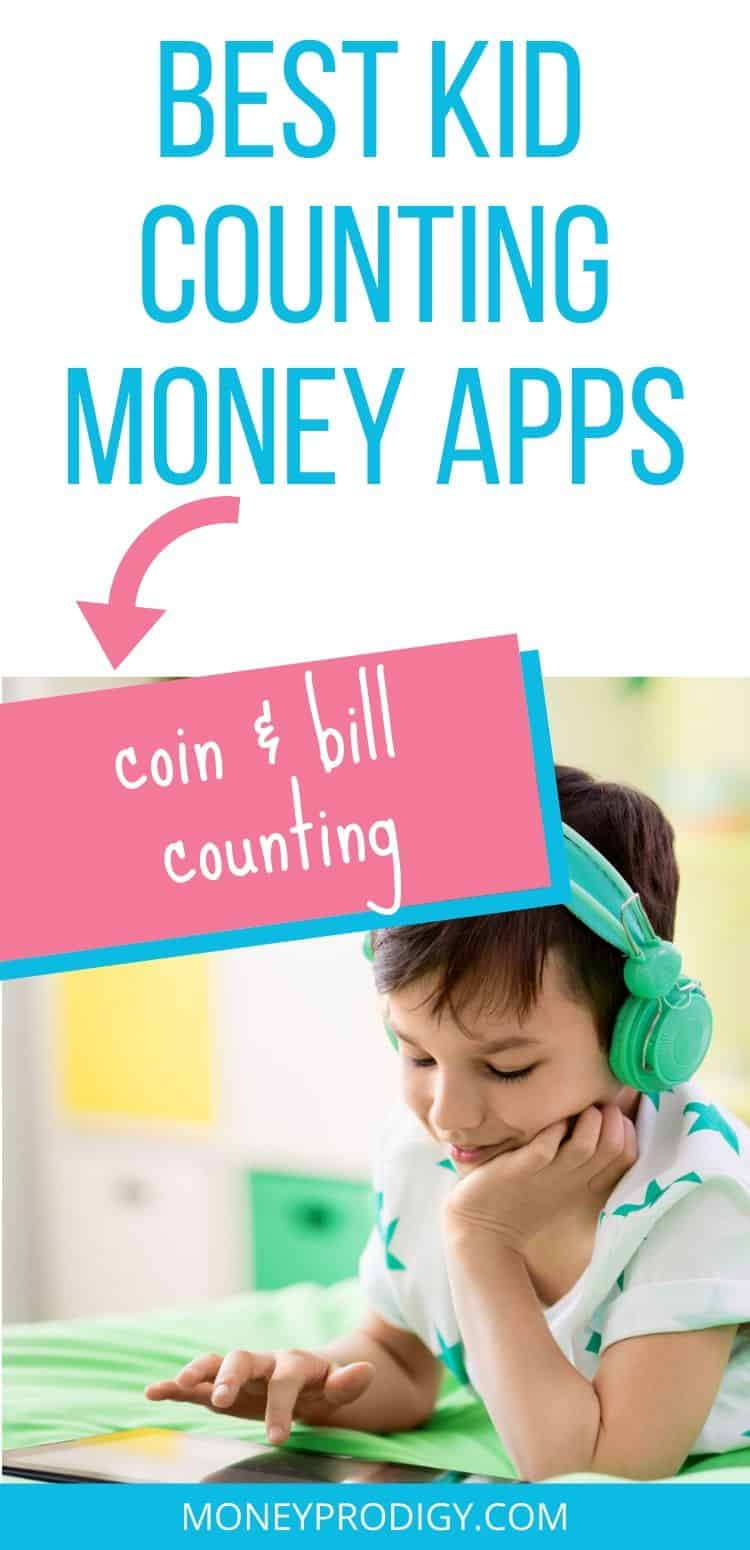 "image of kid using counting money apps on ipad, text overlay ""best kid counting money apps to learn coins and bills"""