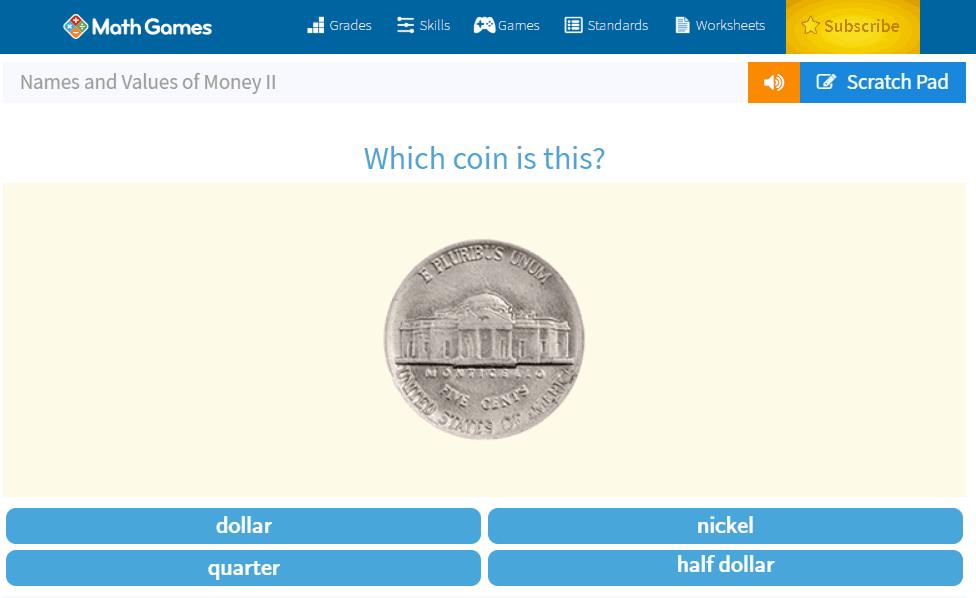 screenshot of a math game coin identifier