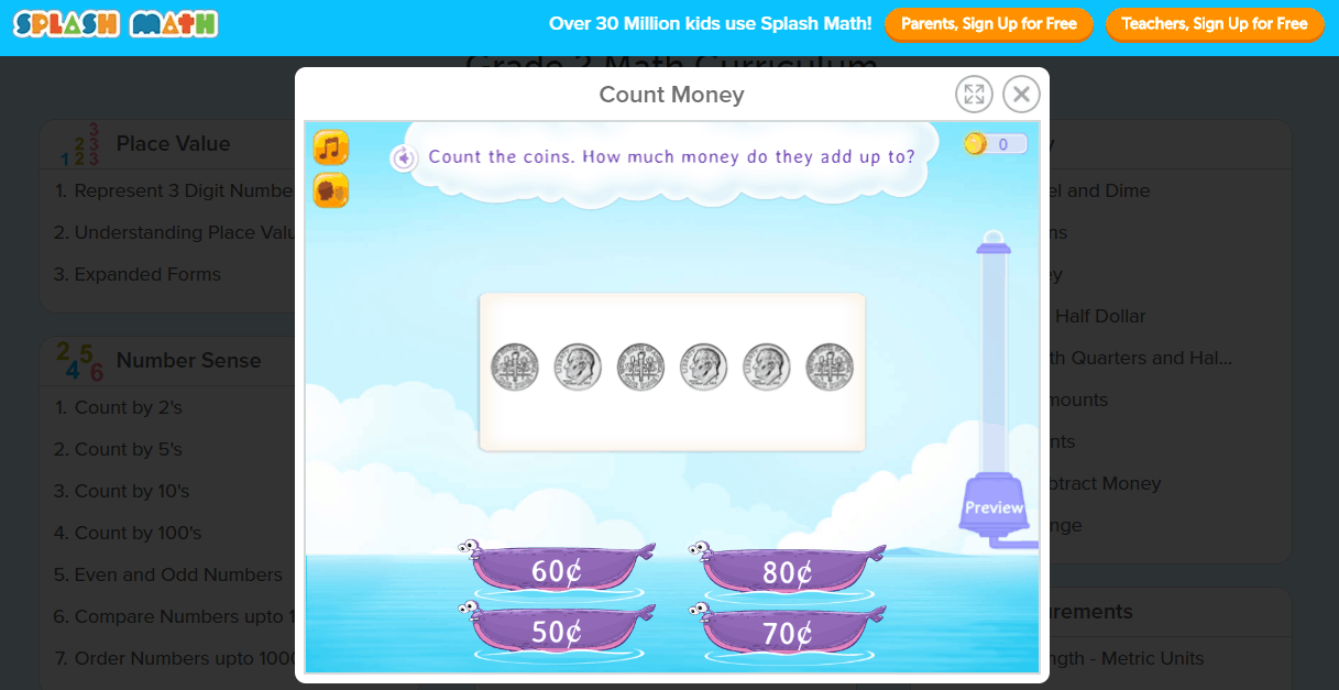 screenshot of money math app