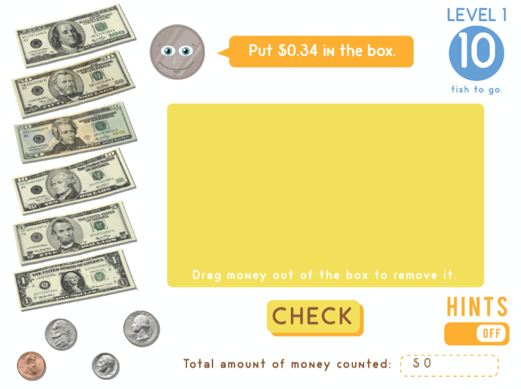 screenshot of counting coins game