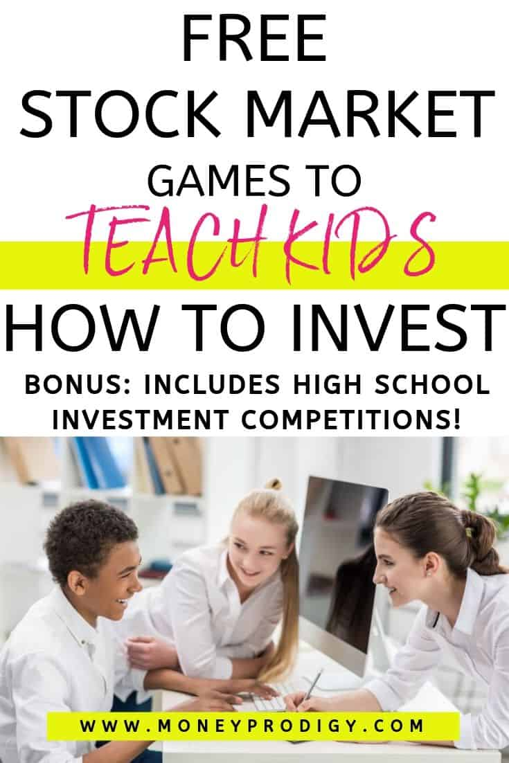 """group of students at desk working, text overlay """"free stock market games to teach kids how to invest"""""""