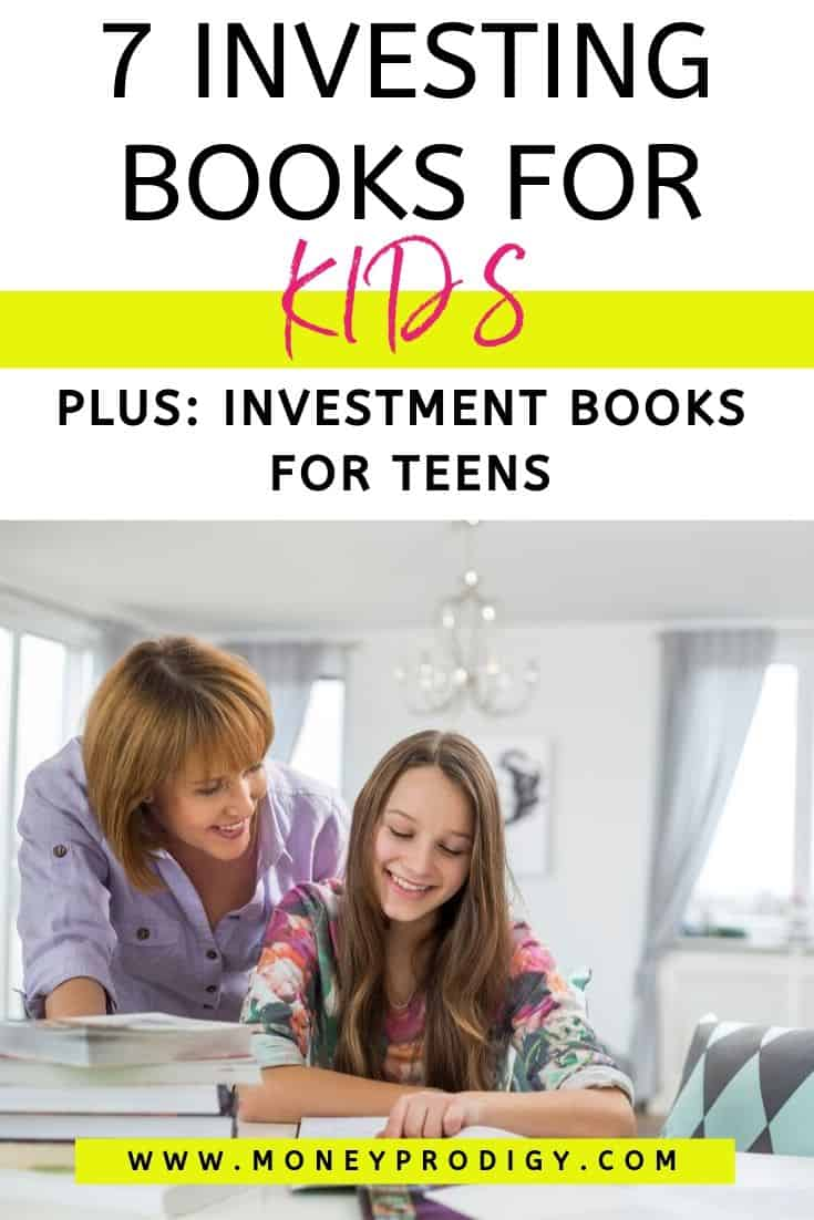 "mother looking over teen's shoulder, reading teen investment book, text overlay ""7 investing books for kids"""
