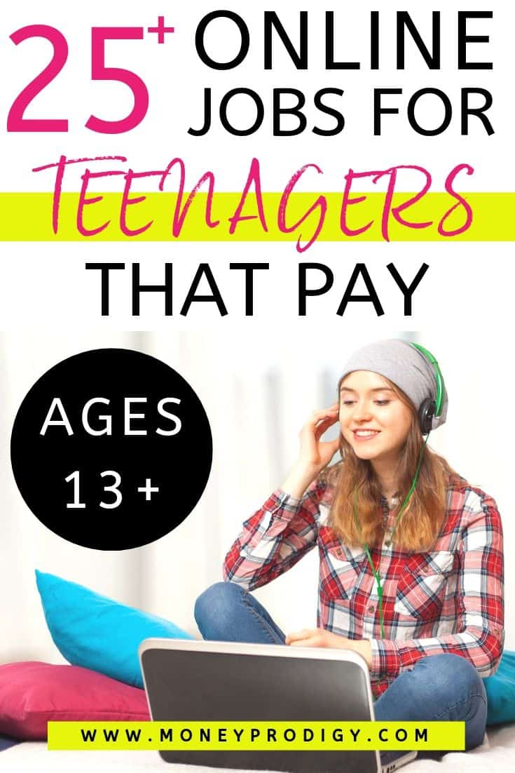 "teenager working at online job, text overlay ""25+ online jobs for teenagers that pay, starting at age 13"""
