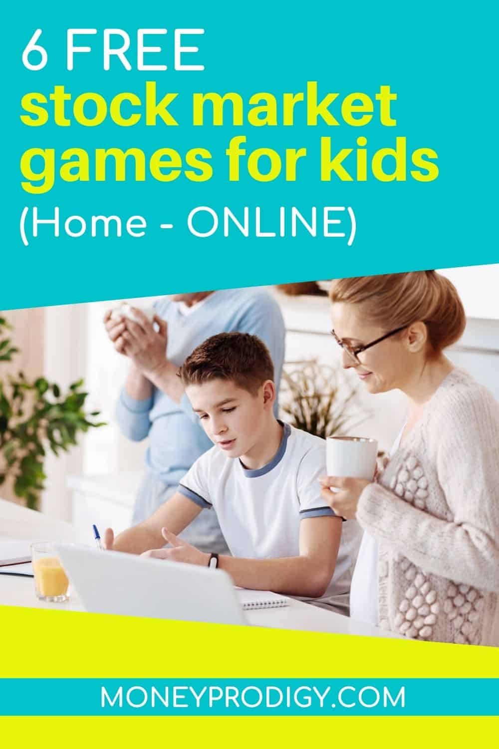 "teen child with his mother working on investing game online, text overlay ""6 free stock market games for kids - home, online"""