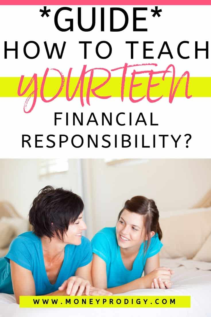 "mother laying on bed talking to teen daughter, text overlay ""guide how to teach your teen financial responsibility"""