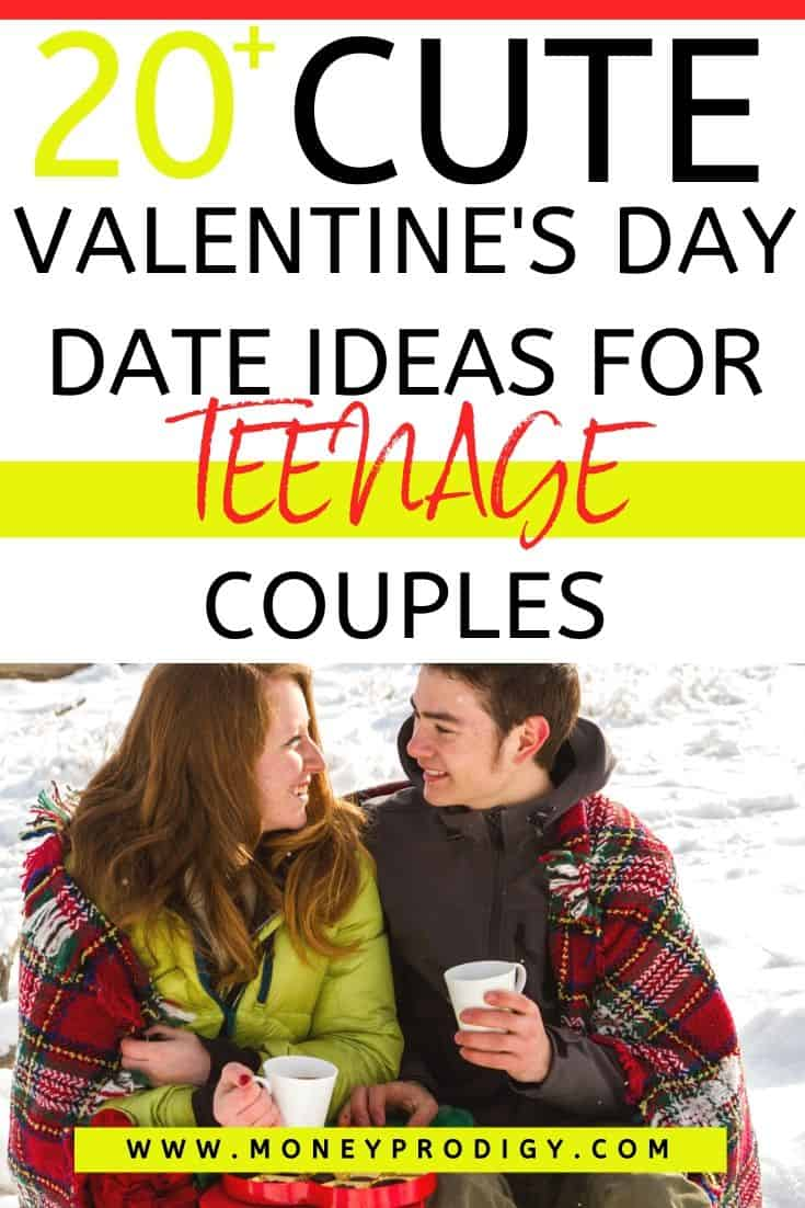 """teenage couple with hot cocoa outside, text overlay """"20 cute valentine's day date ideas for teenage couples"""""""