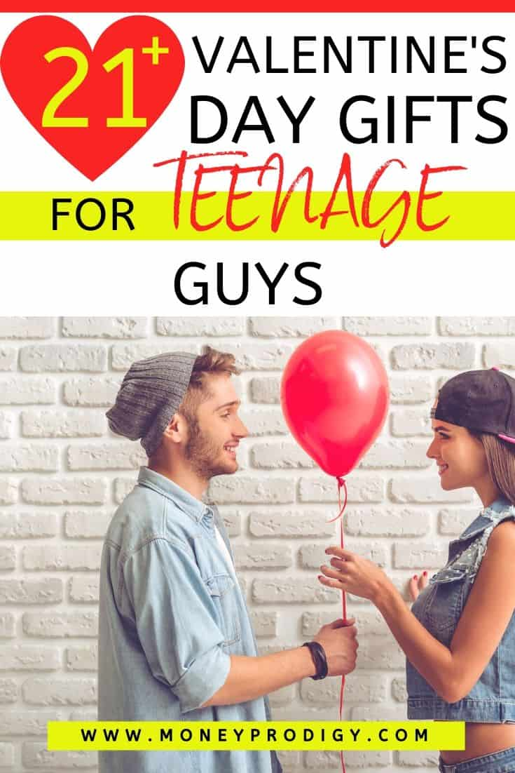 "teenage couple with red balloon, text overlay ""21 valentine's day gifts for teenage guys"""