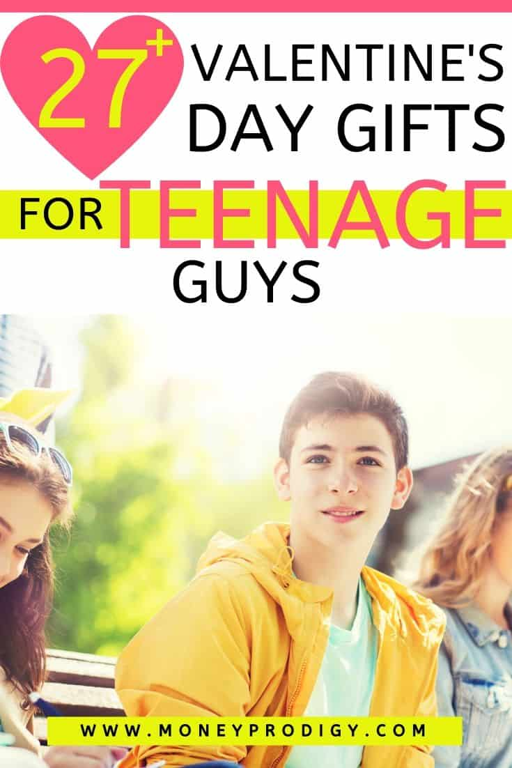 """teenage guy sitting on bench with teenage girls, text overlay """"27 Valentine's Day gifts for teenage guys"""""""