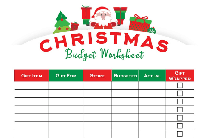 screenshot of Christmas budgeting sheet