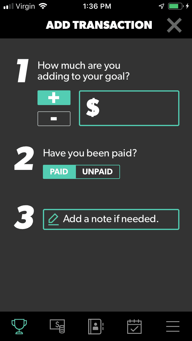 screenshot of budget app for teens