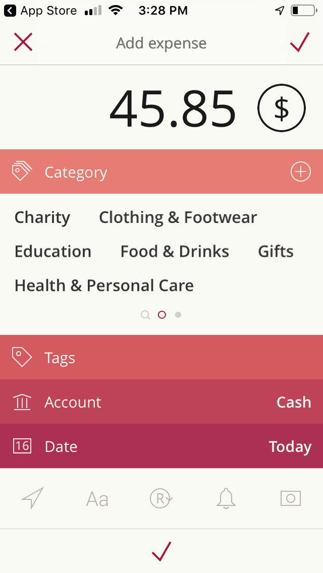 screenshot of teenage budget app