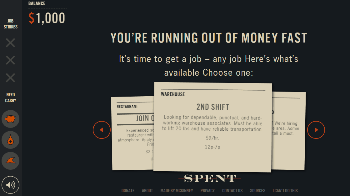 screenshot of budgeting game for students