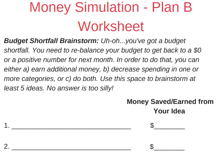 screenshot of budgeting scenarios for high school students PDF