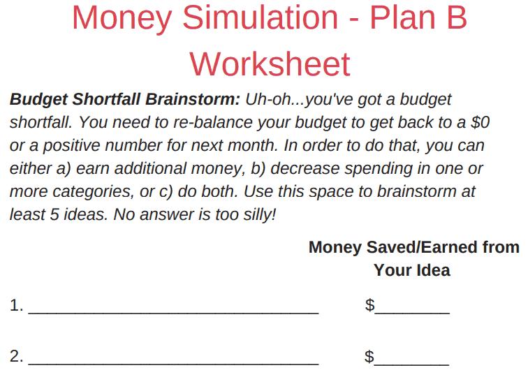 screenshot of budgeting scenarios for high school students PDF