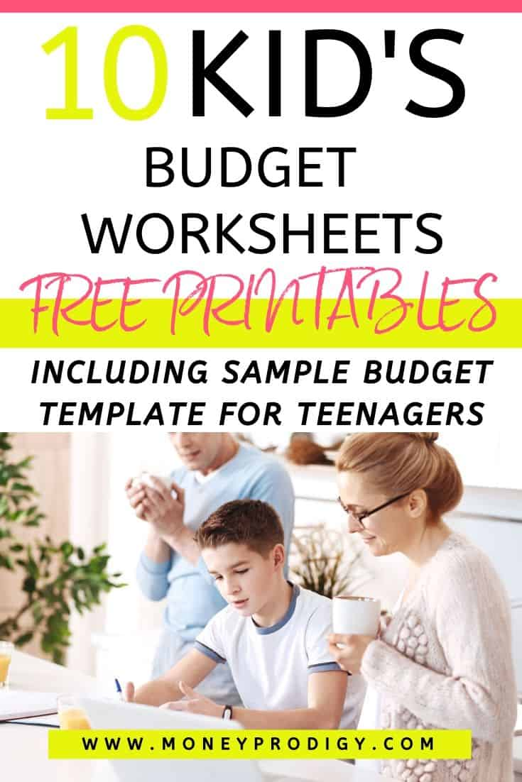 mother helping son fill out kids budget worksheet