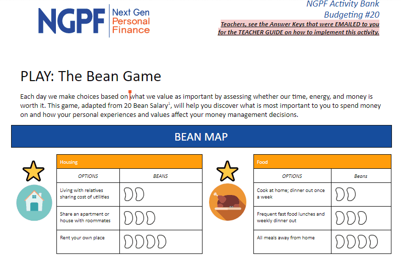 screenshot of jelly bean game for fun budgeting activity pdf